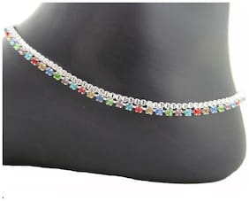 Urbanela silver Anklet- silver payal with multicolor stone layer for girls (ADUANK07)