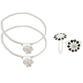 Urbanela Silver Toned Designer Anklet & Tow Ring Fashion Jewellery Combo ANK-TR03