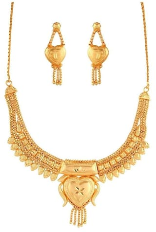 Urbanela Traditional Ethnic One Gram Gold Plated Necklace Set / Jewellery Set For Women ADBNC03