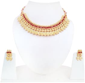 Urbanela Traditional Ethnic One Gram Gold Plated Party Wear Necklace Set with Earrings for Women : Bridal Jewellery : ADGB14-RED