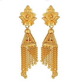 Urbanela Traditional Ethnic One Gram Gold Plated Jhumki Earrings For Women : UR-EG21