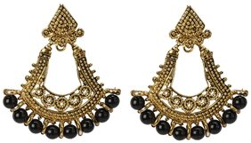 Urbanela Traditional Royal look Gold Plated Kundan and Pearl studded Dangle & Drop Earrings For Women   : URER24-GOLDENBLACK