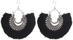 Urbanela Trendy Antique Oxidised Afghani Tribal Fancy Party Wear Thread Earrings for Girls and Women : UNGSE01-BLACK