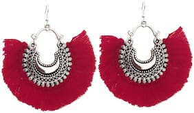Urbanela Trendy Antique Oxidised Afghani Tribal Fancy Party Wear Thread Earrings for Girls and Women : UNGSE01-RED