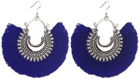 Urbanela Trendy Antique Oxidised Afghani Tribal Fancy Party Wear Thread Earrings for Girls and Women : UNGSE01-BLUE