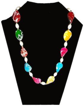 Urbanela Twisted Beads Multicolor Moti Mala with Earrings : Designer Jewellery Necklace ADBCH01-MULTI