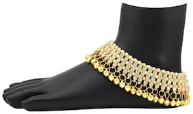Utkars fashion White And Golden Ghungroo Alloy Anklet (Pack of 2)