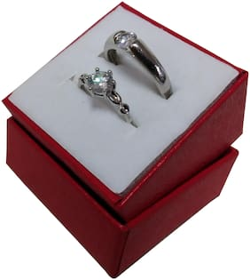 "Utkarsh Me & You His Her Stainless Steel Crystal Platinum Plated Adjustable Size ""Dream Love Promise"" Fancy Couple Finger Rings For Men's & Women's, Husband & Wife With Red Heart Box (Silver)"