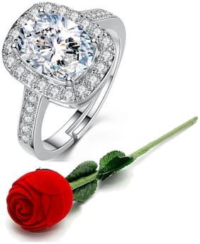Valentine Gift By Karatcart Platinum Plated Elegant Classic Crystal Adjustable Ring For Women