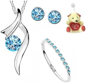 Om Jewells Combo of Aqua Blue Necklace Set and Bangle Bracelet with Free Teddy for Girls and Women by Om Jewells CO1000035BLUTed