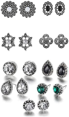 Valentine Gift: Om Jewells Silver Oxidise Jewellery Combo of 12 Stunning Indo Western Tops Studded with Crystal Elements for Girls and Women CO1000203