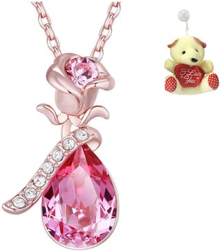 Om Jewells Blue Flower Pendant Necklace with Free Teddy for Girls and Women by Om Jewells PD1000817Ted
