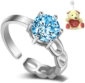 Om Jewells Blue Adjustable Finger Ring with Free Teddy for Girls and Women by Om Jewells FR1000901BLUTed