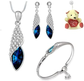 Om Jewells Combo of Pendant Necklace set and Bangle Bracelet with Free Teddy for Girls and Women by Om Jewells CO100062Ted