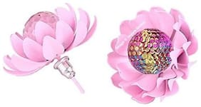 Valentine's Gifts: Jewels Galaxy Luxuria Floral Design Party Wear Fancy Light Pink Crystal Earrings For Women/Girls