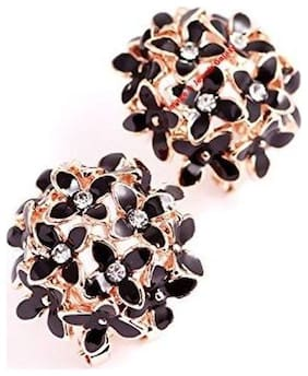 Valentine's Gifts: Jewels Galaxy Floral Luxuria Fancy American Diamond Floral Designer Party Wear Black Earrings Women/Girls Limited Edition