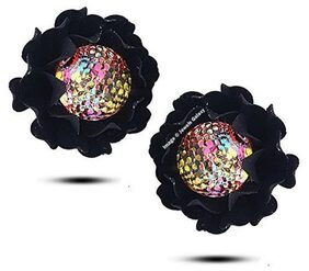 Valentine's Gifts: Jewels Galaxy Luxuria Trendy Floral Designer Party Wear Black Color Crystal Earrings Women/Girls