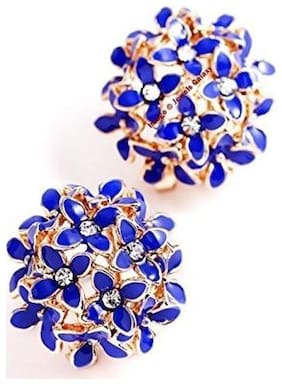 Valentine's Gifts: Jewels Galaxy Luxuria Trendy American Diamond Floral Designer Party Wear Dark Blue Color Earrings Women/Girls