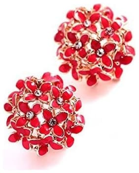 Valentine's Gifts: Jewels Galaxy Luxuria AD Floral Design Fancy Red Color Earrings Women/Girls Limited Edition