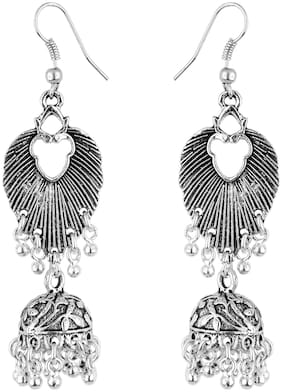 Vannyaa Creationss Oxidised Silver Collections Peacock Dangles Earring For Women