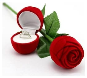 Velvet Red Rose Jewellery Ring Box (Gift, Engagement) Single Box Without Ring ( 1 pc. )