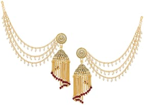 Vermont Gold Plated Bahubali Long Chain Tassel Pearl Jhumki Earrings for women