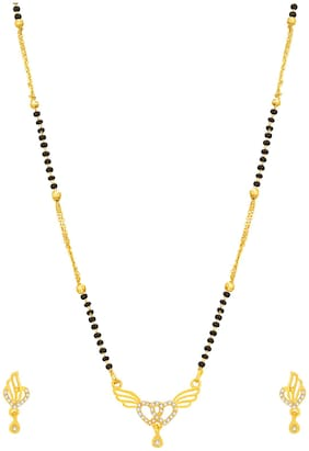 Vermont Traditional Gold Plated American Diamond Latest Fancy Mangalsutra Set for Women