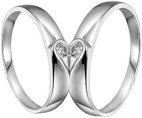 VFI Stainless Steel American Diamond Adjustable AD Couple Ring For Your Valentine