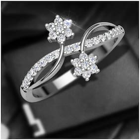 Vighnaharta Dia Couple Flower cz Rhodium Plated Alloy Ring for Women and Girls-[VFJ1395FRR7]
