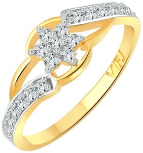 Vighnaharta Golden Finger Friend CZ Gold and Rhodium Plated Alloy Finger Ring for Women and Girls