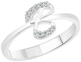 Vighnaharta initial ''B'' Alphabet (CZ) Silver and Rhodium Plated Alloy Ring for Women and Girls