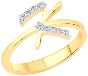 Vighnaharta initial ''K'' Letter (CZ) Gold and Rhodium Plated Alloy Ring for Women and Girls