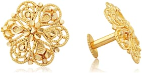 Vighnaharta Traditional South Screw Back Alloy Gold and Micron Plated Round Earring