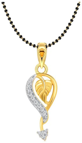 Vighnaharta Attractive Leaf Gold and Rhodium Plated Mangalsutra Chain Pendant