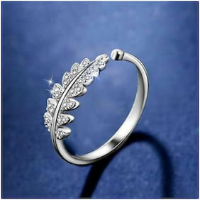 Vighnaharta Decent Leaf CZ Rhodium Plated Alloy Adjustable;Free Size Ring for Women and Girls-[VFJ1548FRR]