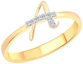 Vighnaharta initial ''A'' Letter (CZ) Gold and Rhodium Plated Alloy Ring For Women and Girls