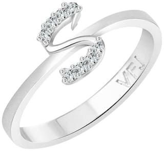 Vighnaharta initial ''S'' Alphabet (CZ)  Rhodium Plated Alloy Ring for Women and Girls