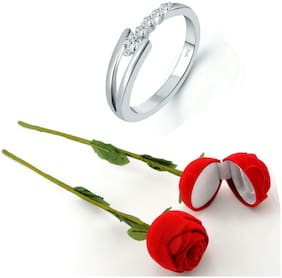 Vighnaharta Valentine's Stylish CZ Rhodium Plated Ring with Scented Rose Ring Box for Women and Girls