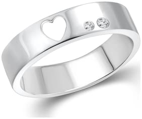 Vighnaharta Power Couple Band Silver and Rhodium Plated Ring for Women