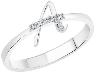 Vighnaharta initial ''A'' Alphabet (CZ) Silver and Rhodium Plated Alloy Ring for Women and Girls