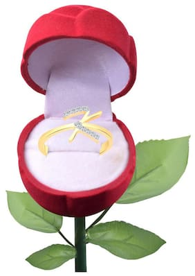 Vighnaharta Initial ''K'' Letter with Rose CZ Gold and Rhodium Plated Alloy Finger Ring for Women and Girls