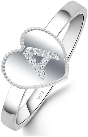Vighnaharta Initial A Letter in Heart Ring CZ Rhodium Plated Alloy Ring for Women and Girls-[VFJ1433FRR16]
