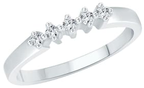 Vighnaharta Simple Five Stone (CZ) Rhodium Plated Alloy Ring For Woman and Girls