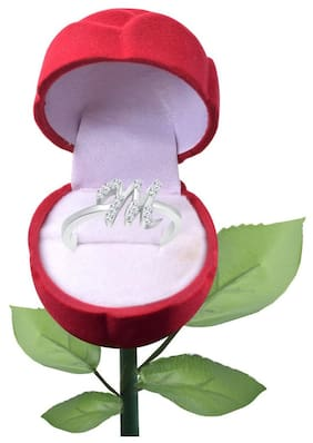 Vighnaharta Initial ''M'' Alphabet with Rose CZ  Rhodium Plated Alloy Finger Ring for Women and girls