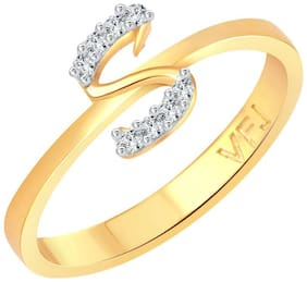 Vighnaharta initial ''S'' Letter (CZ) Gold and Rhodium Plated Alloy Ring for Women and Girls