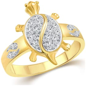 Vighnaharta Tortoise CZ Gold and Rhodium Plated Alloy Gents Ring for Men & Boys