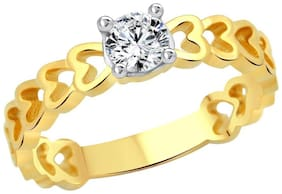 Vighnaharta Classic Heart Solitaire CZ Gold and Rhodium Plated Ring for Women - [VFJ1164FRG/Size14]