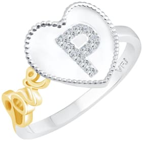 Vighnaharta Valentine Love P Alphabet in Heart CZ Rhodium Plated Alloy Ring for Women and Girls - [VFJ1287FRR16]