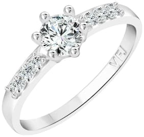 Vighnaharta  Brilliant Engage Solitaire CZ  Rhodium Plated Alloy Finger Ring for Women and Girls