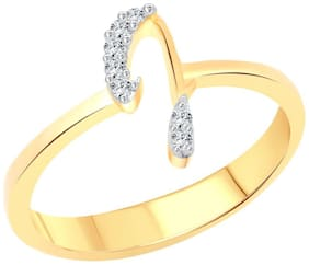 Vighnaharta initial ''J'' Letter (CZ) Gold and Rhodium Plated Alloy Ring for Women and Girls